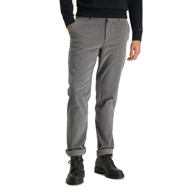 garment dyed slim fit chino with fine cord Rock Grey