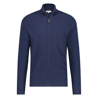 Full Zip Structured Cardigan Bright Navy