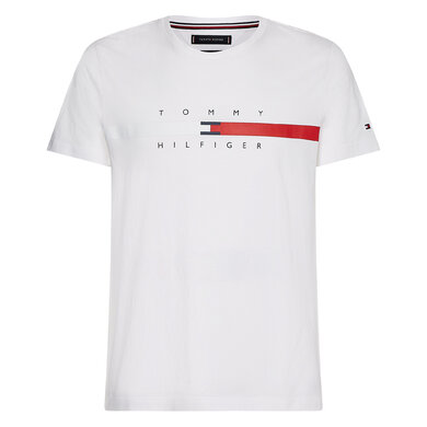 Tommy Hilfiger t-shirt global stripe chest Wit