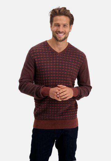State of Art pullover v-hals ruit brique/donkerblauw