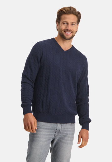 State of Art Pullover V-hals Structuur donkerblauw uni