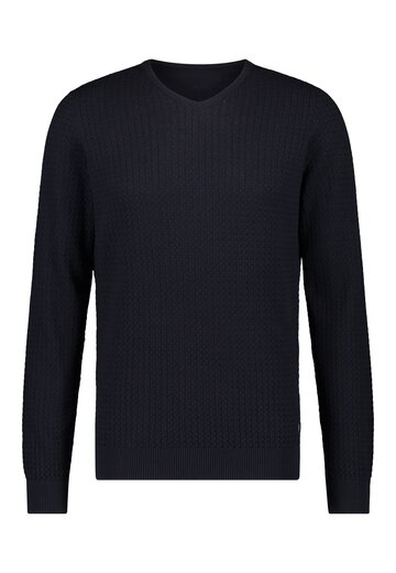 State of Art v-hals pullover donkerblauw uni