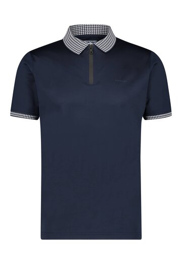 State of Art polo met ritssluiting donkerblauw uni