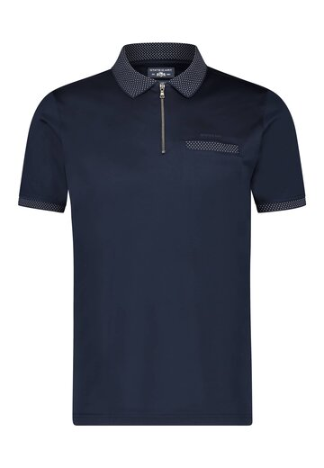 State of Art polo met rits donkerblauw uni