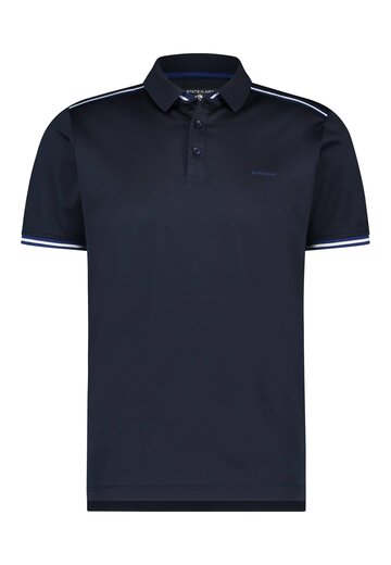 State of Art polo met streepdetail donkerblauw uni