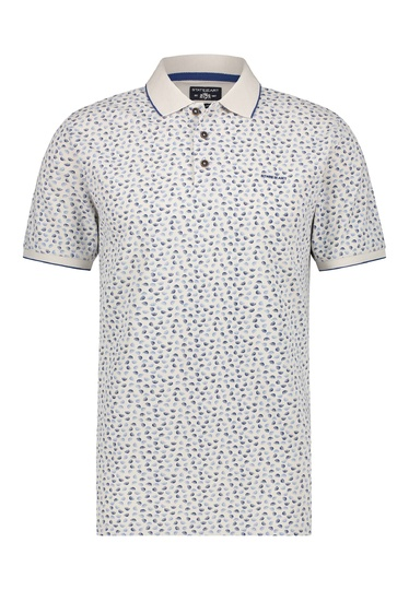 State of Art polo dessin oxford/piqué wit/kobalt