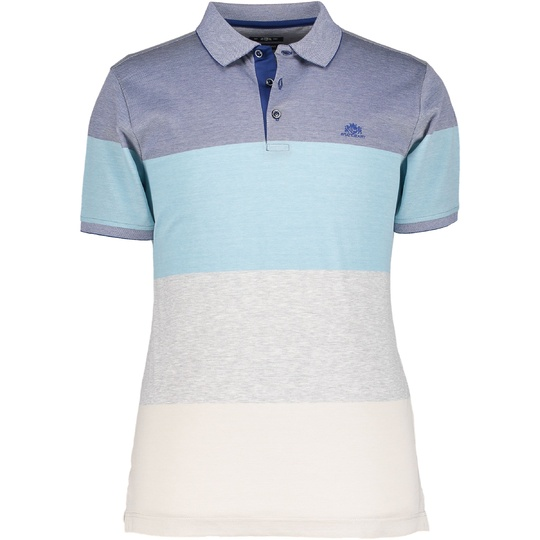 State of Art poloshirt met colourblocking kobalt/grijsblauw